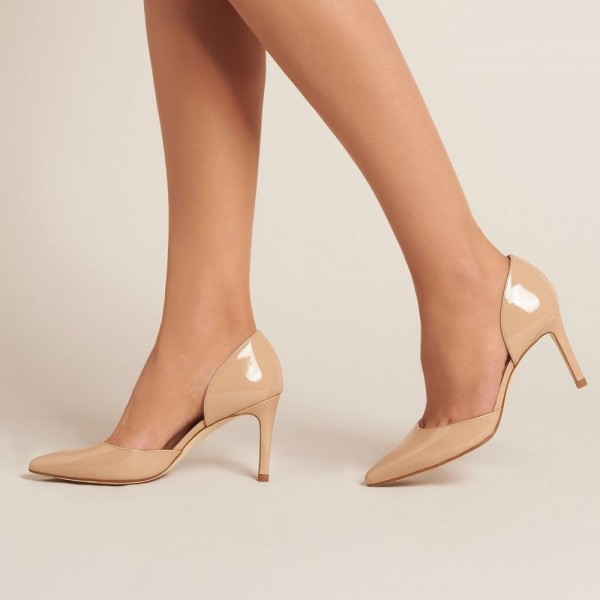 478e1137a0902f On Sale Nude Patent Leather Nude D'orsay Pumps Stiletto Heels image ...