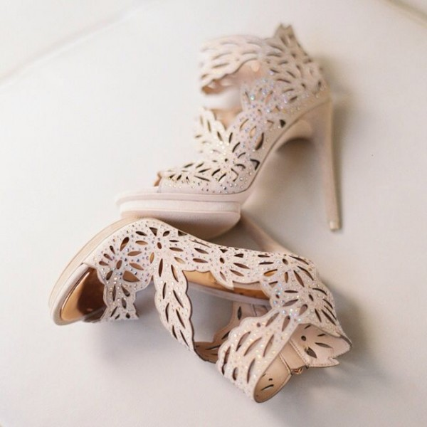 Women's Nude Peep Toe Platform Hollow Out Stiletto Heel Sandals Bridal Shoes image 1
