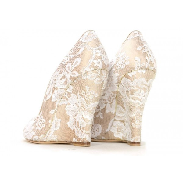 f55a4c35863f ... Nude Lace Wedding Wedges Peep Toe Bridal Heels Pumps image 2 ...