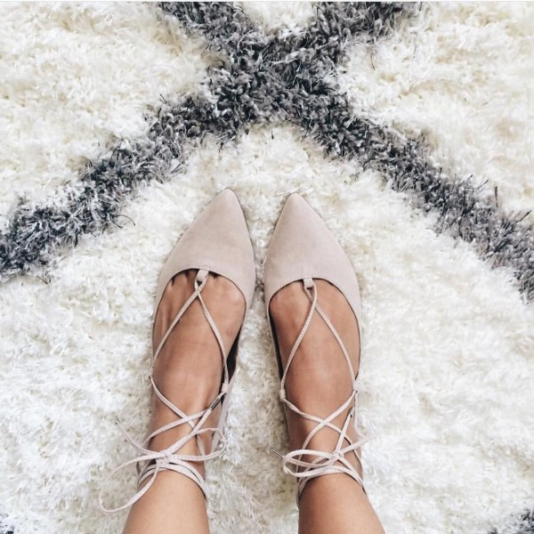 Women's Nude Pointed Toe Strappy shoes Comfortable Flats image 1