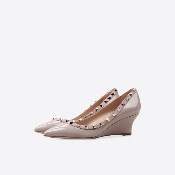 b341434d0c0b Women s Nude Rivet Patent Leather Pointed Toe Wedge Heels Pumps image ...