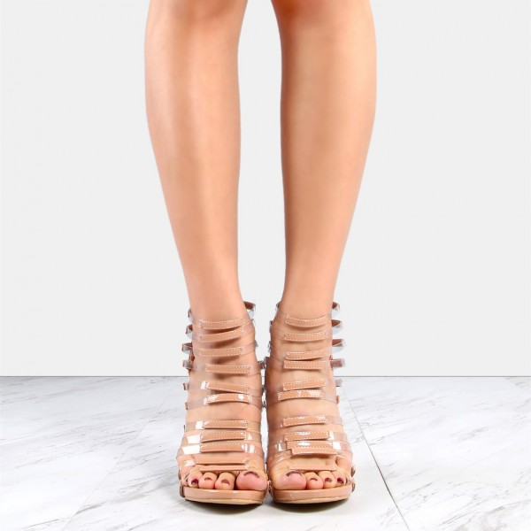 Nude Patent Leather and Clear Heels Open Toe Stiletto Heel Gladiators image 2