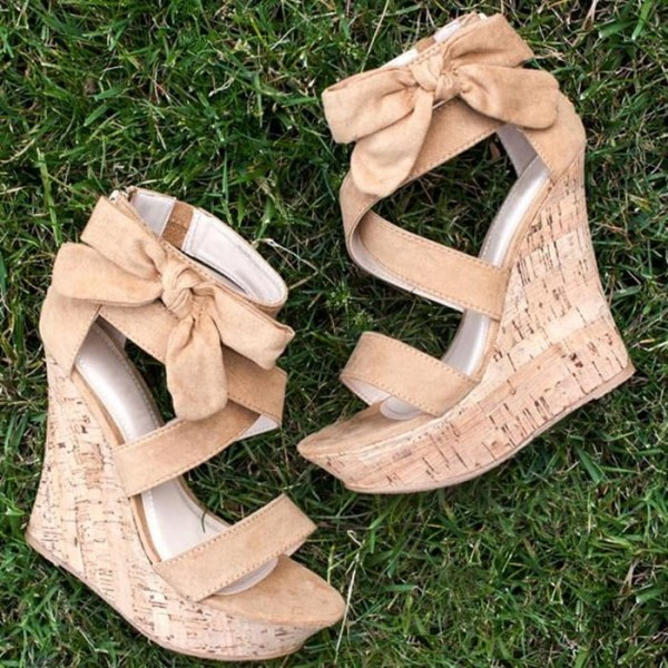 Khaki Cork Wedges Open Toe Suede Side Bow Platform Sandals image 1