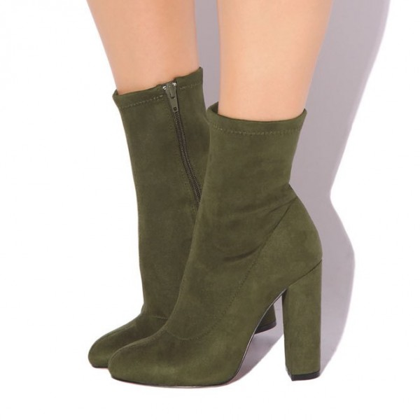 Women's Olive Green Fashion Boots Comfortable Suede Chunky Heels shoes image 1