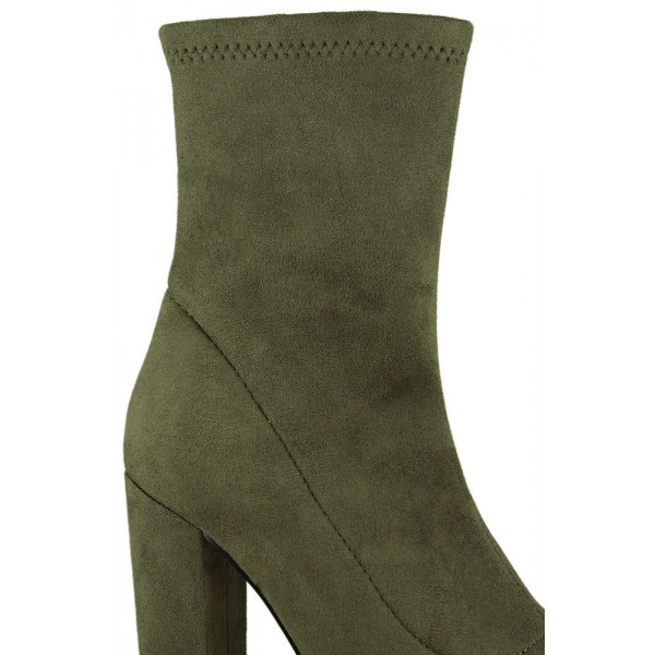 Women's Olive Green Fashion Boots Comfortable Suede Chunky Heels shoes image 3