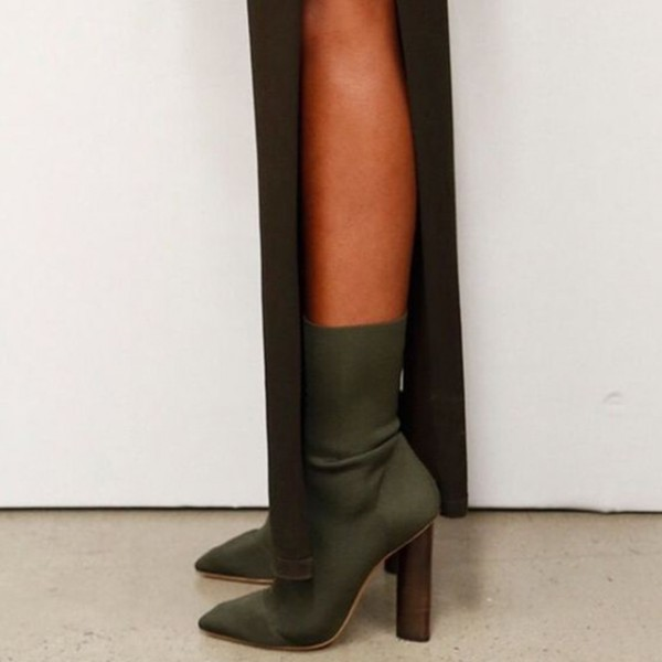 8e358b2e776 Olive Sock Boots Pointy Toe Cylindrical Heel Fashion Booties