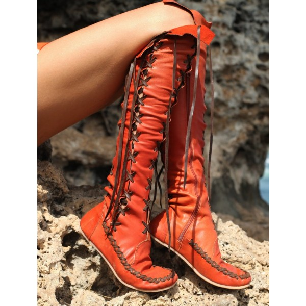 Women's Orange Lace-up Strappy Flats Vintage Boots image 5