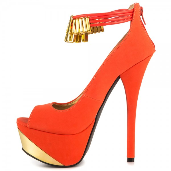 Women's Orange Peep Toe Stiletto Heel Platform Ankle Strap Pumps image 1