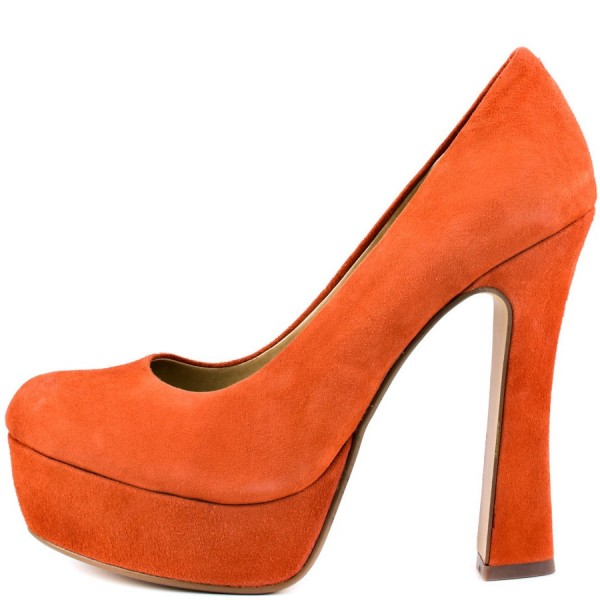 Women's Orange Platform Heels Dress Shoes Spool Heels Pumps image 1