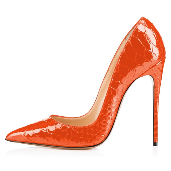 Women's Orange Stiletto Heels Python Pointy Toe Pumps Shoes image 2