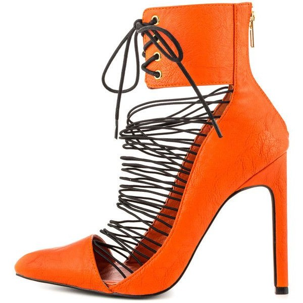 Women's Orange Stiletto Heels Sandals Strappy Lace Up Summer Boots  image 1