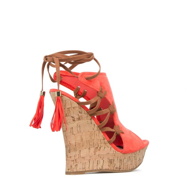 Orange Cork Wedges Ankle Wrap Strappy Peep Toe Suede Platform Sandals image 4