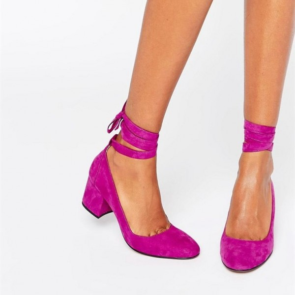 Fuchsia Suede Block Heels Round Toe Strappy Chunky Low Heel Pumps image 1