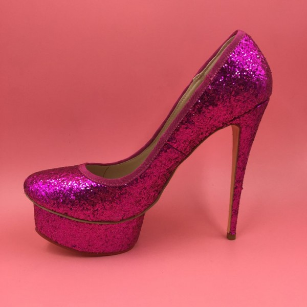 Women's Orchid Glitter Shoes Stiletto Heels Platform High Heels Shoes image 1