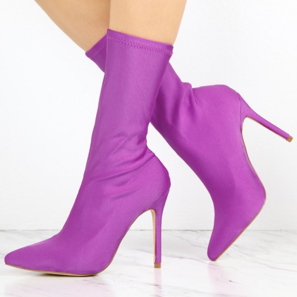 Women's Orchid Satin Stiletto Heels Pointy Toe Ankle Fashion Boots image 1