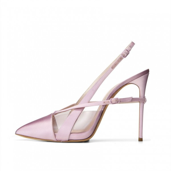 Light Purple Pointy Toe PVC and Satin Fashion Slingback Heels Sandals image 1