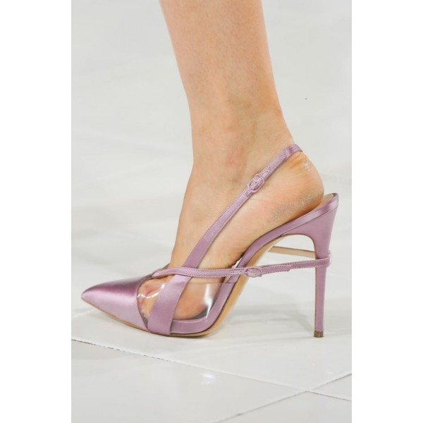 Lighet Purple Pointy Toe PVC and Satin Fashion Slingback Heels Sandals image 11