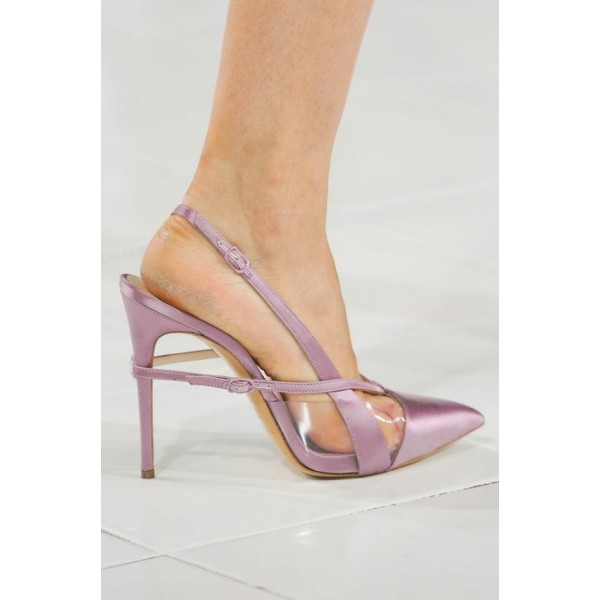 Lighet Purple Pointy Toe PVC and Satin Fashion Slingback Heels Sandals image 9