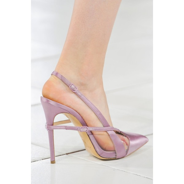 Lighet Purple Pointy Toe PVC and Satin Fashion Slingback Heels Sandals image 4
