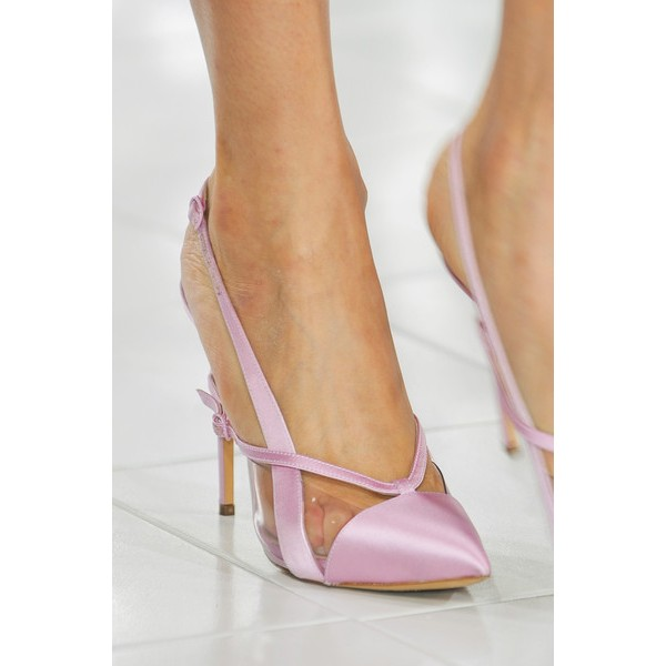 Lighet Purple Pointy Toe PVC and Satin Fashion Slingback Heels Sandals image 3