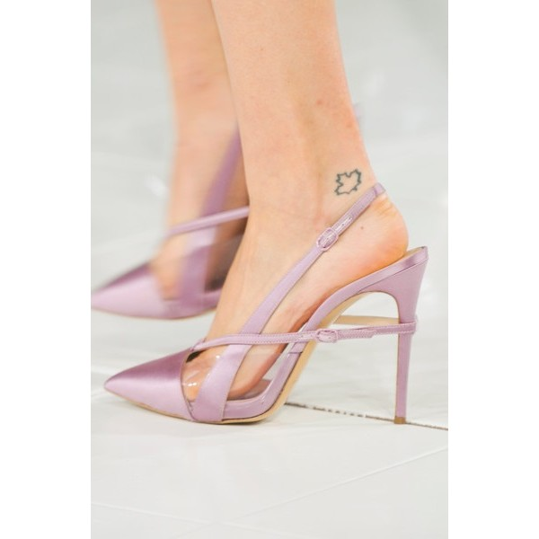 Lighet Purple Pointy Toe PVC and Satin Fashion Slingback Heels Sandals image 6
