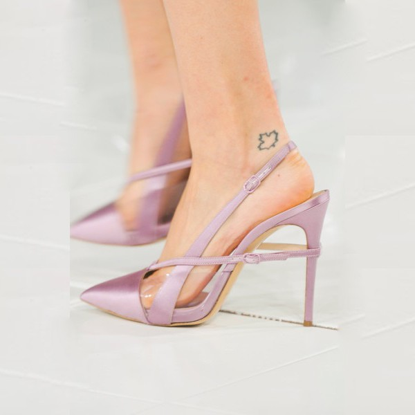 Light Purple Pointy Toe PVC and Satin Fashion Slingback Heels Sandals image 2