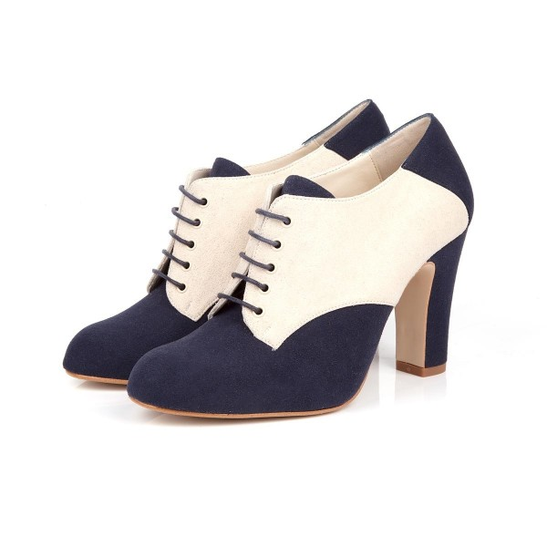 Navy and Ivory Suede Oxford Heels Lace up Chunky Heel Vintage Shoes image 1