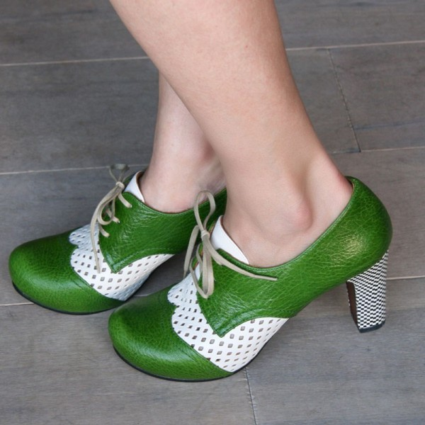 Green and White Vintage Shoes Lace up Block Heel Retro Shoes image 1