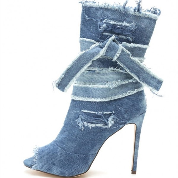 Women's Peep Toe Heels Denim Boots Stiletto Heels Ankle Booties image 1