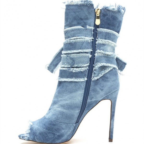 Women's Peep Toe Heels Denim Boots Stiletto Heels Ankle Booties image 2