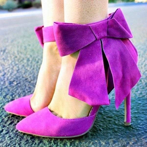 Women's Petunia Suede Bow Ankle Strap Heels Pointy Toe Pumps  image 1