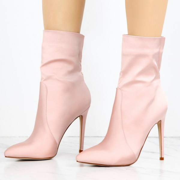 Women's Pink 4 Inch Stiletto Heels Fashion Ladies Ankle Boots  image 1