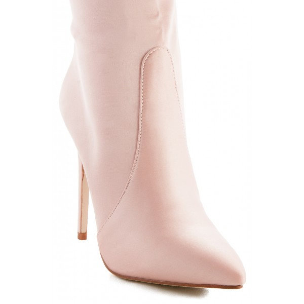 Women's Pink 4 Inch Stiletto Heels Fashion Ladies Ankle Boots  image 3