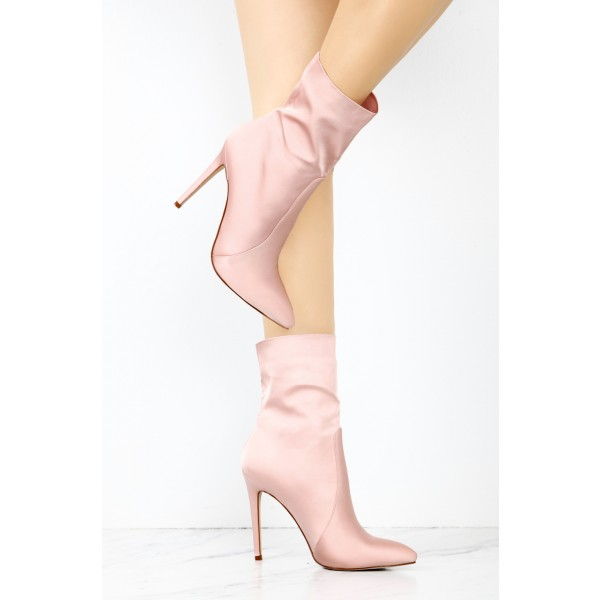 Women's Pink 4 Inch Stiletto Heels Fashion Ladies Ankle Boots  image 2