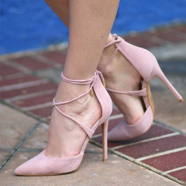Pink Strappy Heels Pointy Toe Suede Stiletto Heel Pumps image 1