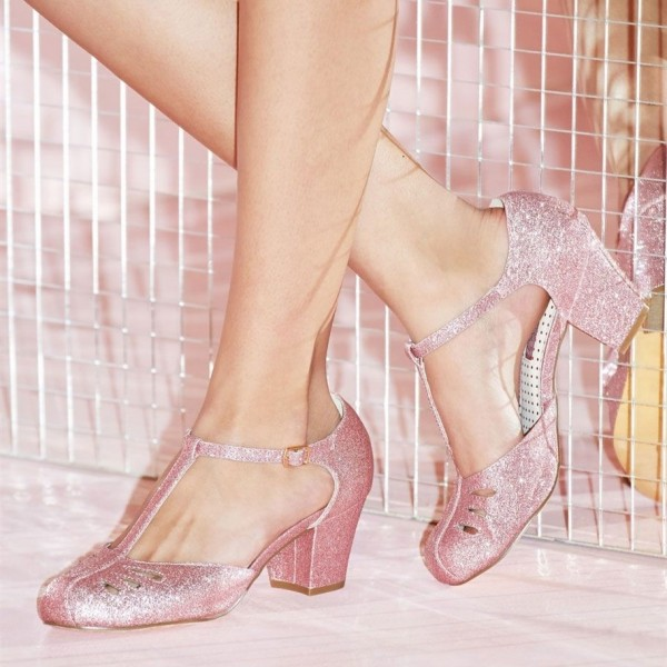Women's Pink Girlish Glitter T-Strap Shoes Chunky Heels Vintage Shoes image 1