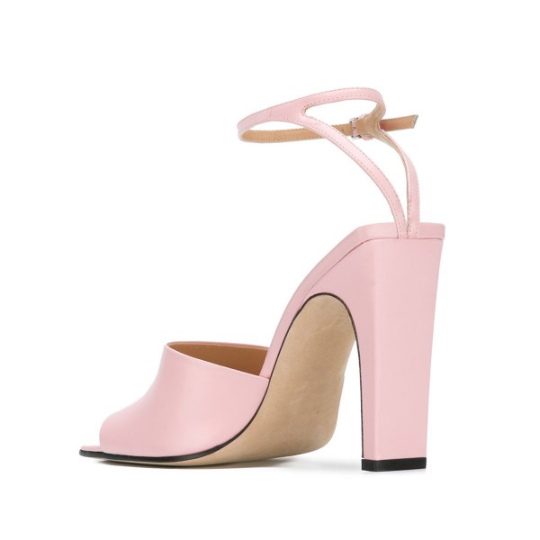 Women's Pink Heels Open Toe Ankle Strap Sandals  image 5