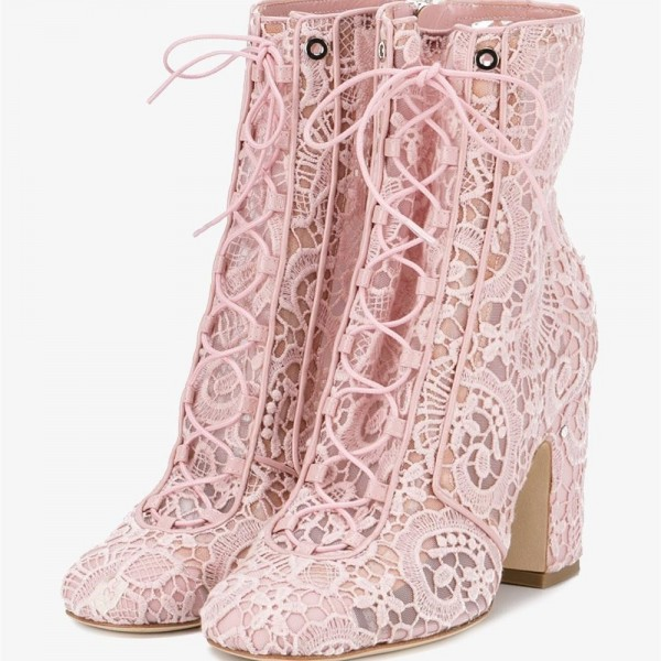 Pink Lace Chunky Heel Boots Mesh Lace up Ankle Booties image 1