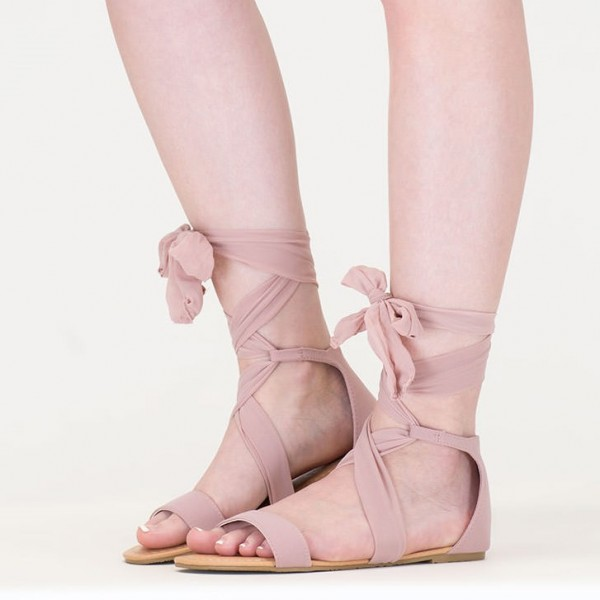 Women's Pink Open Toe Strappy Sandals Comfortable Flats image 1