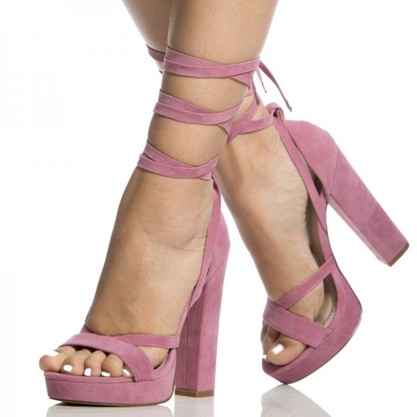 Women's Pink Open Toe Suede Chunky Heel Ankle Straps Sandals image 1