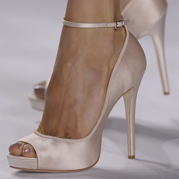Light Pink Satin Peep Toe Stiletto Ankle Strap Heels Women's Pumps image 1