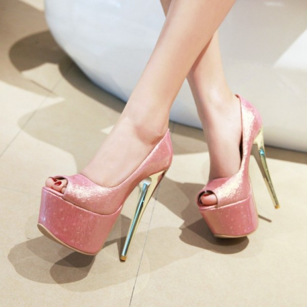 Pink Peep Toe Heels Platform Sexy Shoes Stiletto Heel Stripper Pumps image 5