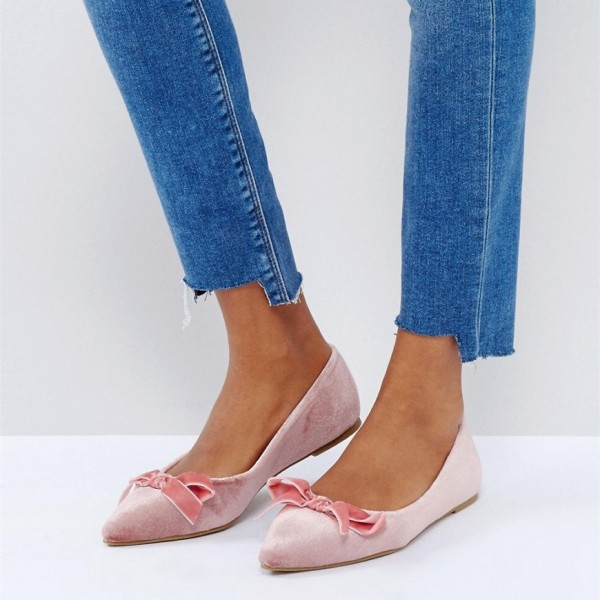 Women's Pink Pointy Toe Comfortable Flats With Bow  image 1