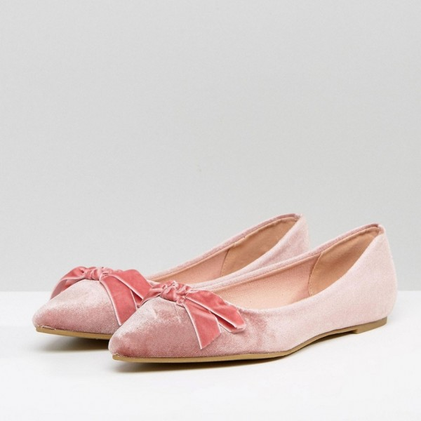 Women's Pink Pointy Toe Comfortable Flats With Bow  image 2