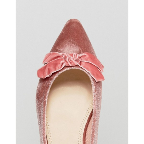 Women's Pink Pointy Toe Comfortable Flats With Bow  image 3