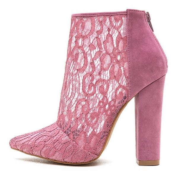 bd53369f485 Pink Pointy Toe Lace Summer Boots Chunky Heel Ankle Booties