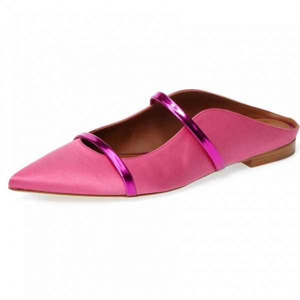 Women's Pink Satin Mule Pointed Toe Flats image 1
