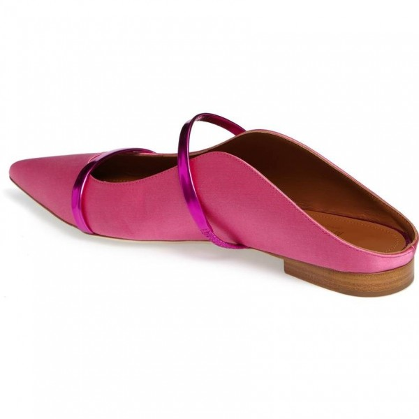 Women's Pink Satin Mule Pointed Toe Flats image 3