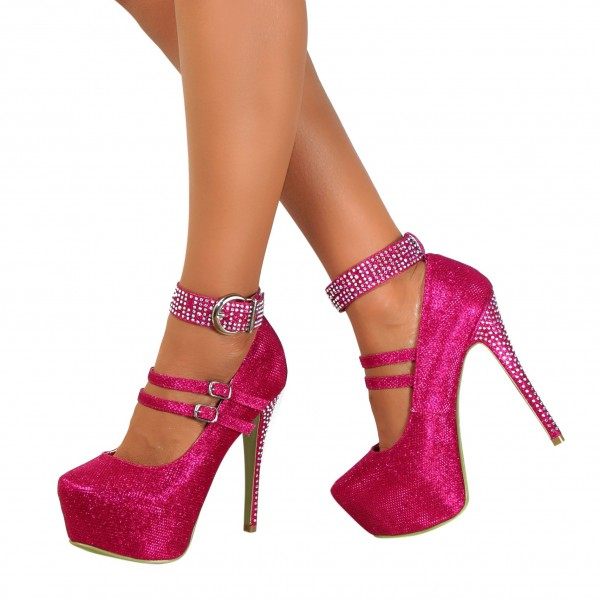 Hot Pink Sparkly Heels Prom Shoes Ankle Strap Platform Pumps image 1