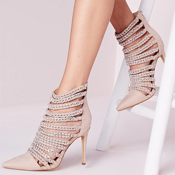 Women's Pink Stiletto Heels Pointy Toe Sexy Ankle Strappy Shoes image 1